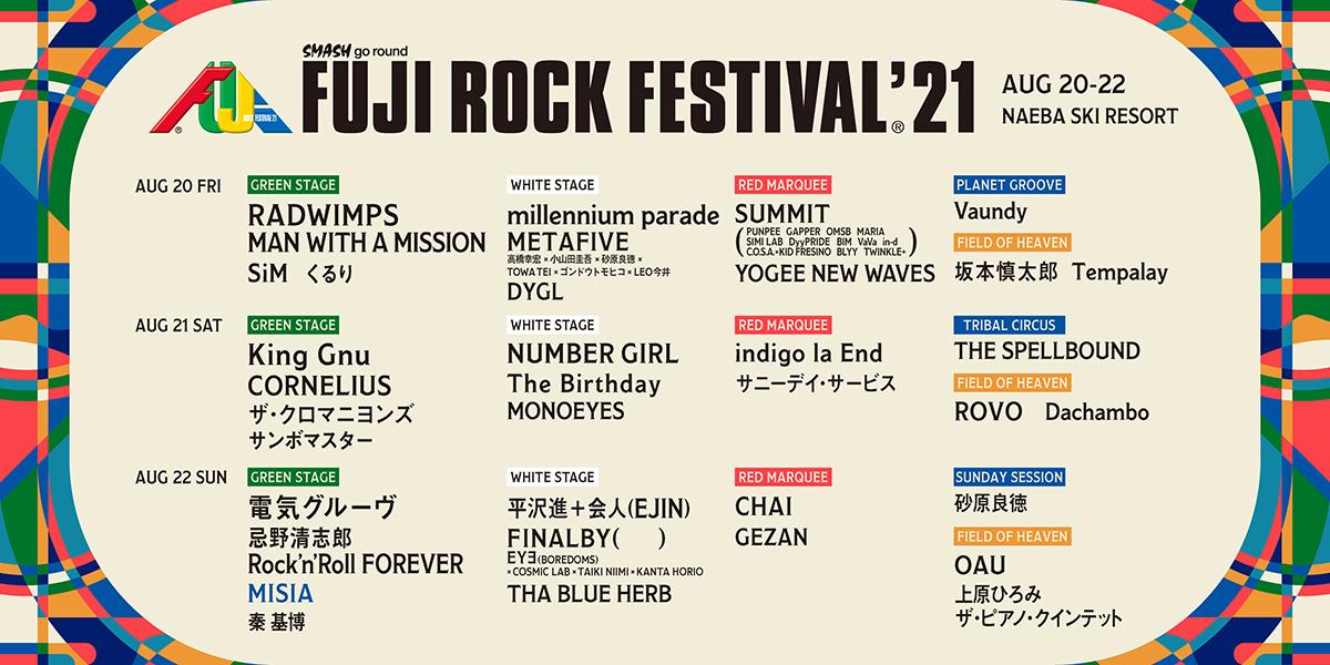 fujirock-2021-lineup04_01 フジロック最終ラインナップにMISIA!ROOKIE A GO-GO出演者も! #fujirock